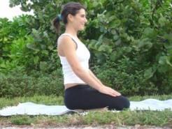 photo of seated breathing yoga