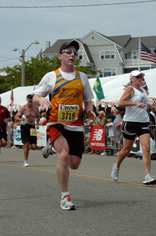 photo of Michael Daly finishing Falmouth Road Race