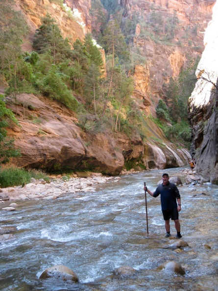 "photo of me hiking Zion ""narrows"""