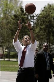 photo of Pres. Obama playing basketball