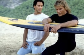 photo of Swayze and Reeves in 1991's film Point Break
