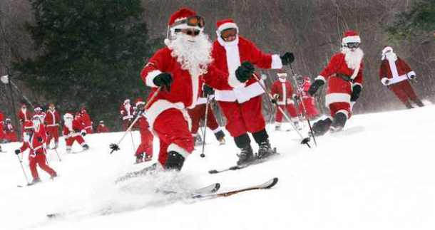 Santa skiing at Sunday River